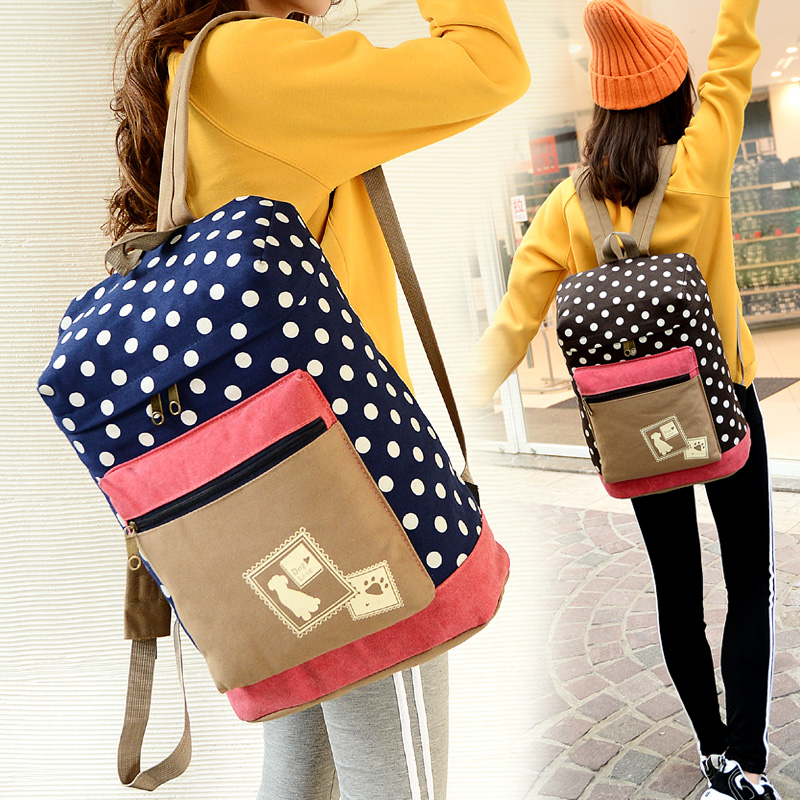Fashion High Quality Girl Women Dot Backpacks Canvas School Bags Preppy Style Backpack For Teenager Travel Book Bag Mochila Bags