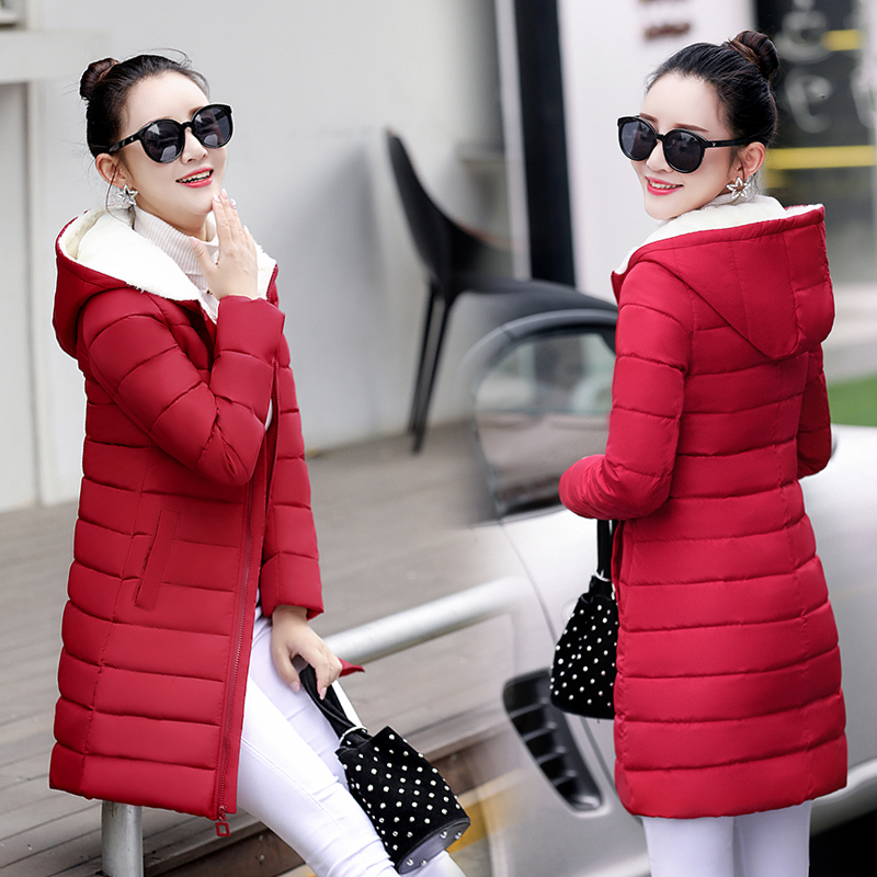Women's Hooded Jacket Winter 2017 New Medium-Long Cotton Padded Parka Plus Size Coat Slim Ladies Casual Outwear Hot Sale new winter women jacket medium long thicken plus size outwear hooded wadded coat slim parka cotton padded jacket overcoat cm1039