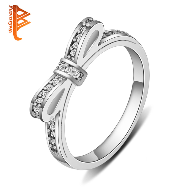 BELAWANG Butterfly Rings Fashion Jewelry Wedding Rings Sparkling Bow