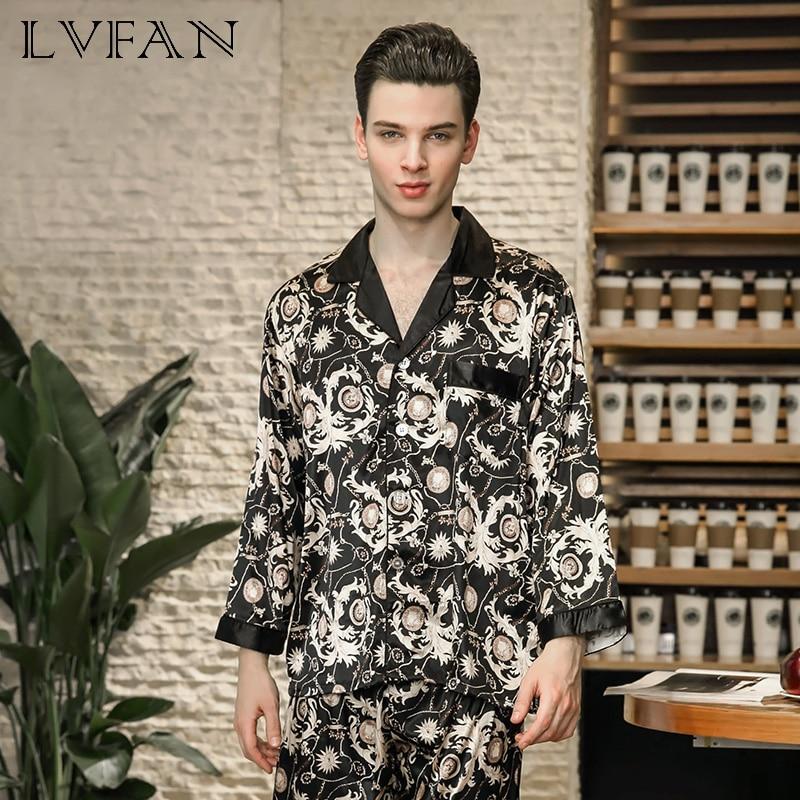 Silk Pajamas Men's Spring Long-sleeved Trousers Home Suit Silk-like Pajamas For Men In Spring Trousers Household LVFAN TZ778