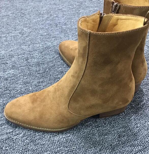2018 FR.LANCELOT Brand Brown Suede Handmade Vintage Nobel Luxury Genuine Leather Wyatt Harness Side Zipper Men Shoes
