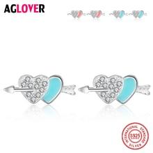 Double Heart to Clear Zircon 925 Sterling Silver Arrow Stud Earrings for Women Jewelry