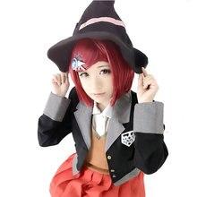 QC HSIU Yumeno Himiko פאת קוספליי החדש Danganronpa V3 תלבושות לשחק פאות קצר אדום נשים פאת ליל כל הקדושים תלבושות שיער משלוח חינם