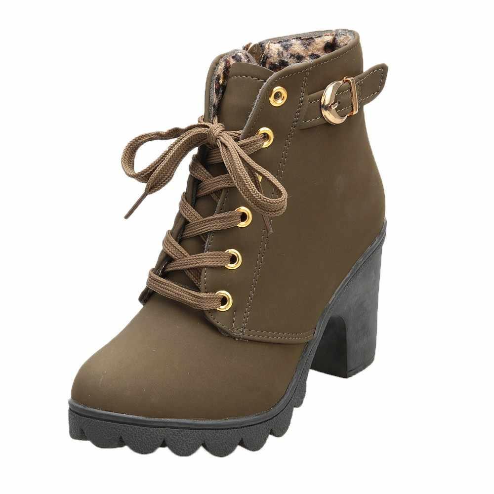 Çizmeler kadın 2019 yeni yüksek topuk ayak bileği bağcığı botları bayanlar toka platform ayakkabılar kadın rahat Mujer kadın yarım çizmeler dropship