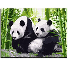 WEEN Two Panda-Framed DIY Painting By Numbers,Abstract Modern Wall Art Picture, Acrylic Paint,  Canvas Paint Numbers 40X50CM