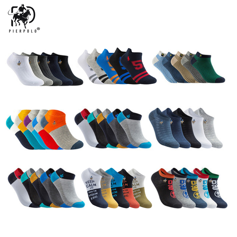PIER POLO Socks Men 5pairs/lot High Quality Brand Summer Cotton Socks Casual Short Funny Ankle Socks Men Meia Calcetines