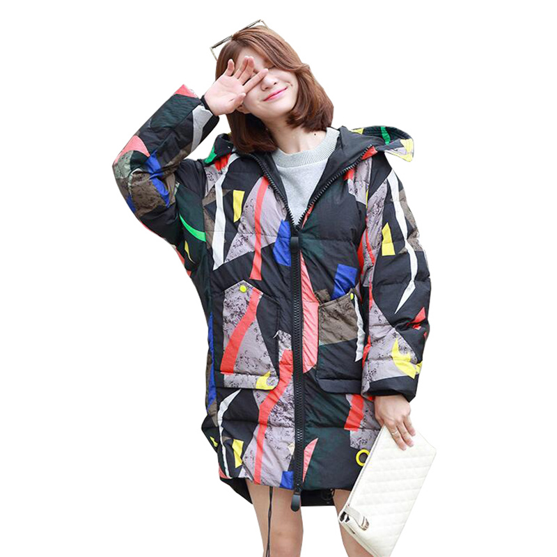High Fashion Design Camouflage   Down   Jacket Women Hooded Long Parka 2019 New Arrival Womens Winter Thick 95% White Duck   Down     Coat