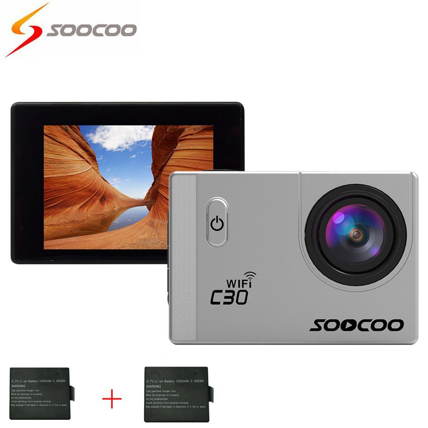 SOOCOO C30 Sports Action Camera Wifi 4K Gyro 2.0 LCD NTK96660 30M Waterproof Adjustable Viewing angles with Extra Batteries soocoo c30 sports action camera wifi 4k gyro 2 0 lcd ntk96660 30m waterproof adjustable viewing angles