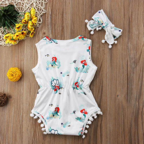 Cute Newborn Cartoon Mermaid Newborn Baby Girls Clothes Sleeveless Bodysuit Cotton Print Jumpsuit Outfit Set Clothes