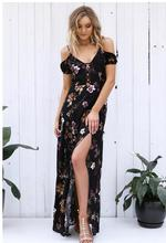 купить Women V-neck Print Sexy Split Dress High Split Summer Floral Print Sashes Long Dress Causal Short Sleeve Beach Maxi Dress дешево