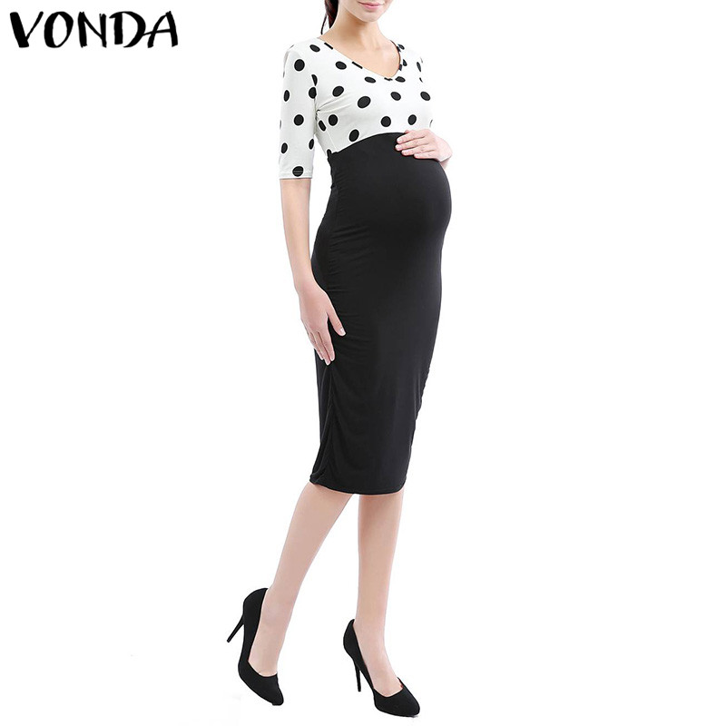 VONDA Maternity Clothes 2018 Summer Women Polka Dot Print Pencil Dress Half Sleeve Patchwork Pregnant Bodycon Vestidos Plus Size