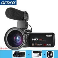 Ordro видеокамеры HDV Z20 1080 P 30fps full hd видеокамеры с внешнего микрофона и Широкий формат объектив Встроенный WI FI удаленного Управление