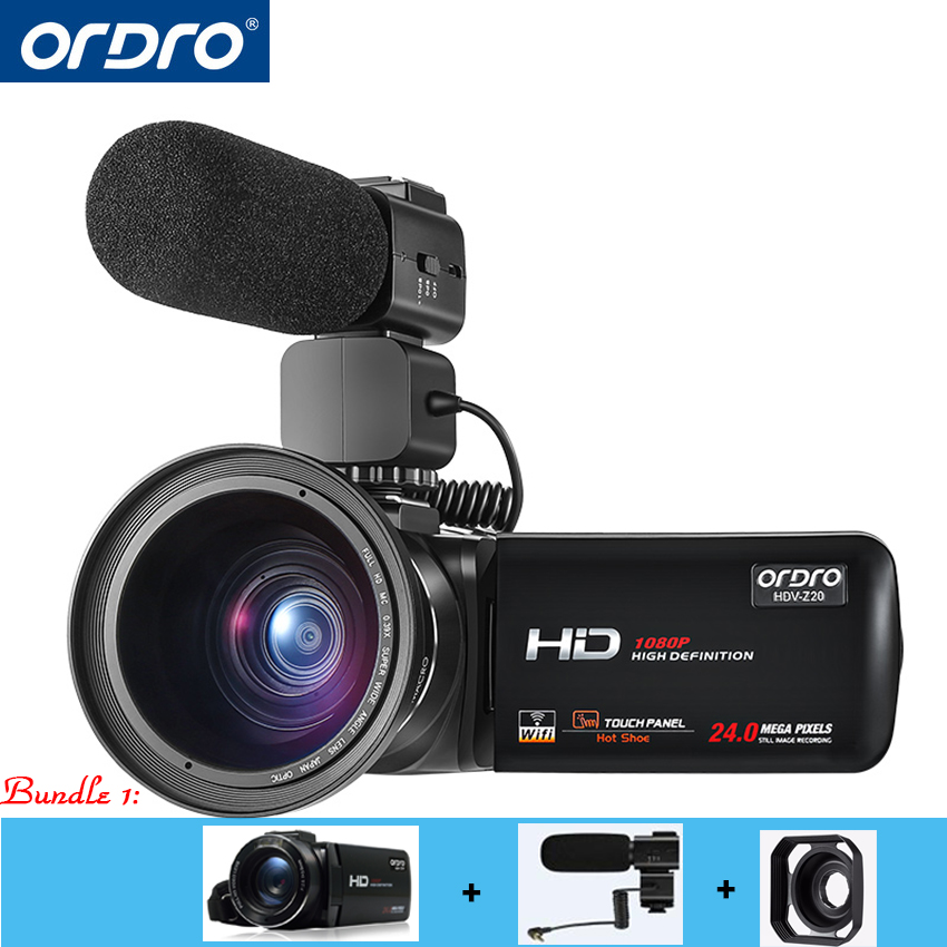 Ordro Video Cameras HDV-Z20 1080p 30fps FHD Camcorders with External Microphone and Wide Angle Lens Built-in WIFI Remote Control