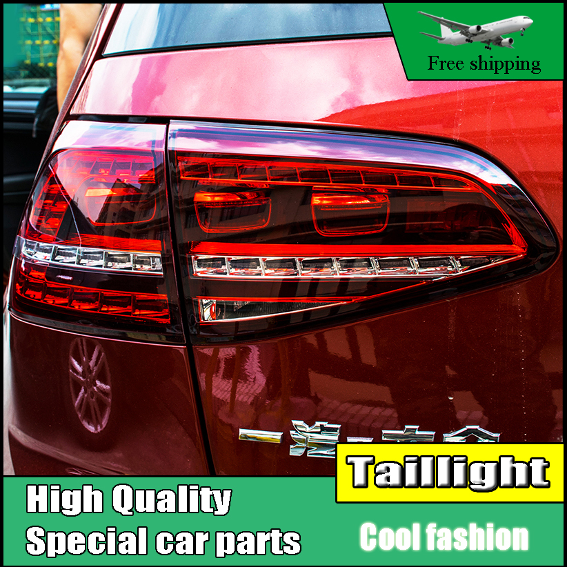 Car Styling For Volkswagen Golf 7 MK7 2013 2014 Tail Lights With Dynamic Turn Signal Light LED Rear Lamp DRL+Brake+Park+Signal for vw volkswagen polo mk5 6r hatchback 2010 2015 car rear lights covers led drl turn signals brake reverse tail decoration