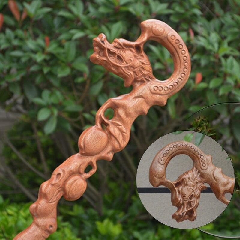 Ensemble Jacoranda sculpté tête de Dragon 100% bois massif bâton de marche palissandre main béquille grand-père Canne Brithday cadeau vieil homme personnel