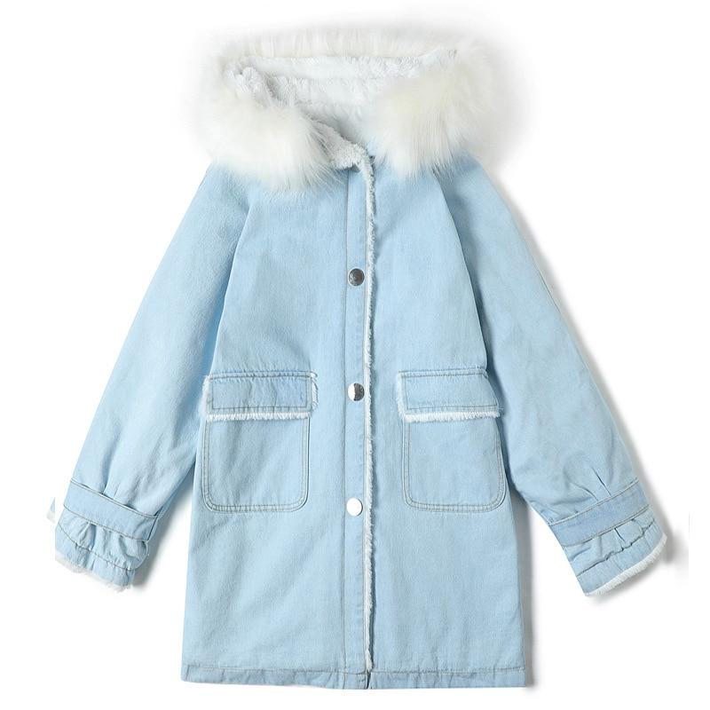 3c94ca1f 2019 New Warm Winter Women Hooded Coat Jeans Denim Jackets Thick ...