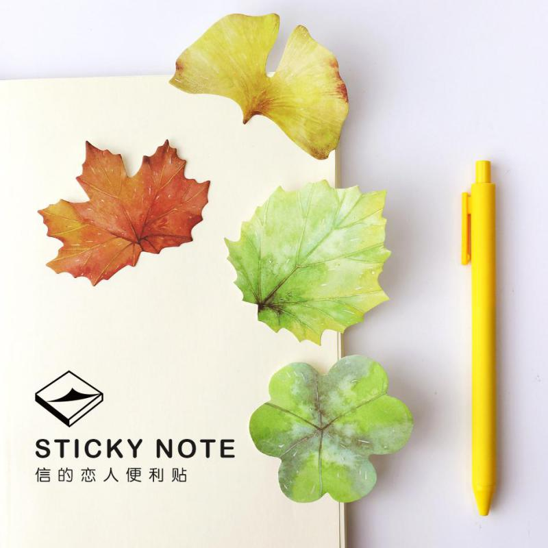 4pcs Green Leaves Plant Post Type Paper Sticker Letter Memo Pad Posted Message Notes Sticker Bookmark Stationery School Supply
