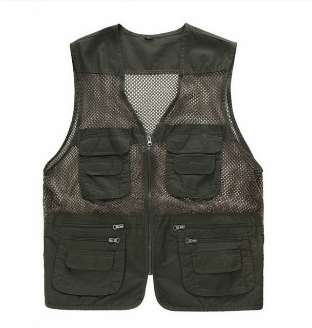 EAS Male Vest Casual Loose Plus Size Black Men Vest With Many Pockets