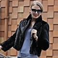 Сексуальные Подлинная реального норки пальто женщины твердые мода slim норки мех молния пальто выключите воротник полный рукава sexy черное пальто