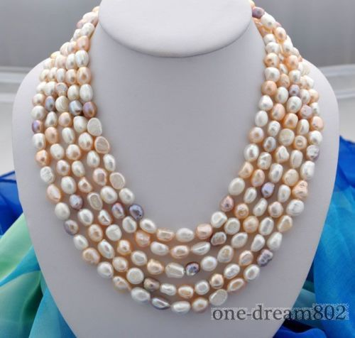 "100% Selling Picture full 100""8-9mm white pink purple baroque freshwater pearl necklace"