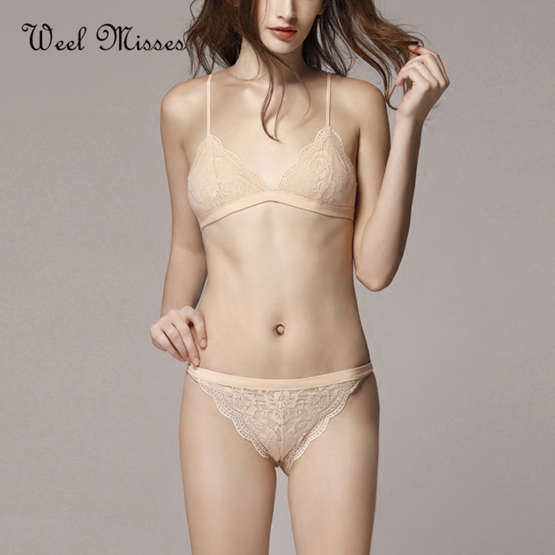 Weel Misses New Arrival 2018 Women Breathable Sexy Lace Bra Sets Comfortable Bralette Wire Free Underwear Sets