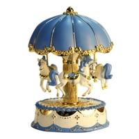 Desktop Mechanism Umbrella Carousel LED Light Romantic Gifts Music Box Horse Valentine's Day Ornament Exquisite Clockwork Craft