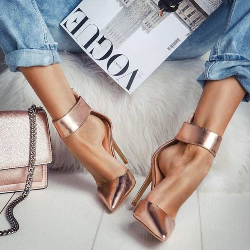 887a399f475de2 Trend Wide Ankle Strap Women Pumps Golden Heels Pointed Toe Zipper Shoes  12cm High Heels Office