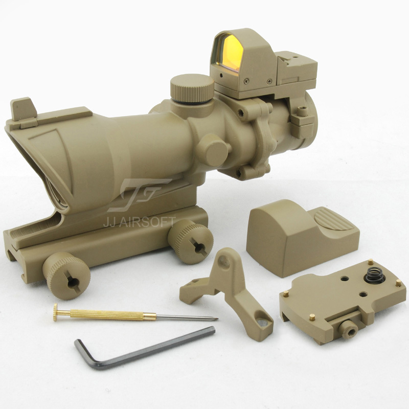 JJ Airsoft ACOG Style 4x32 Scope with Docter Mini Red Dot Light Sensor (Tan) FREE SHIPPING jj airsoft acog style 4x32 scope with docter mini red dot light sensor black free shipping