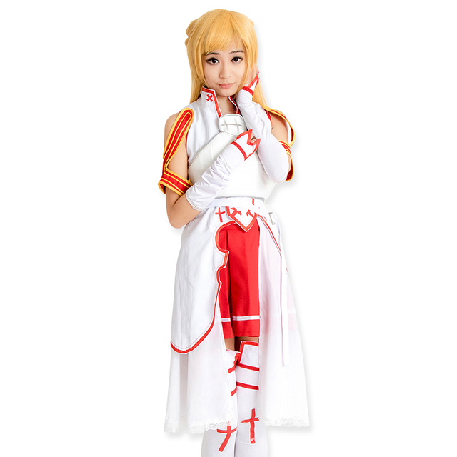 Anime Sword Art Online ALO Asuna Cosplay Costume Halloween Costume Outfit Set No Wig Include New Free Shipping+Drop Shipping