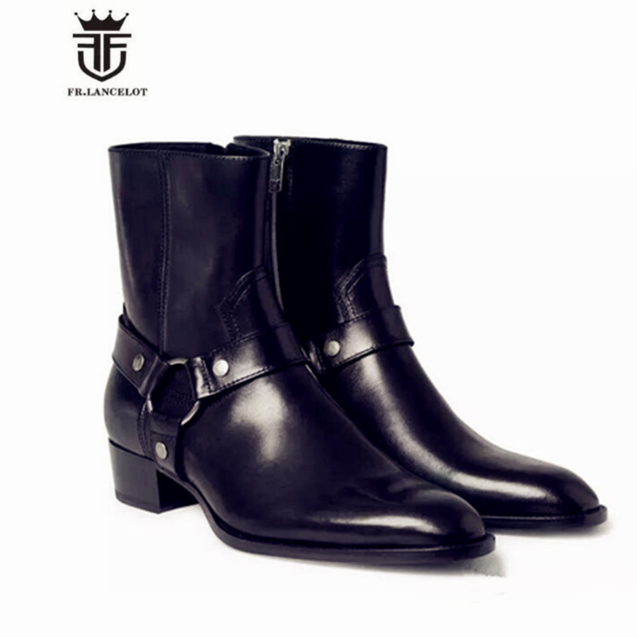 2017 New Genuine Leather Handmade High Top West Justin Luxury Men Boots Black Cow Leather Wyatt Classic Wedge Chelsea Boots justin s classic almond butter squeeze packs 6x10ct