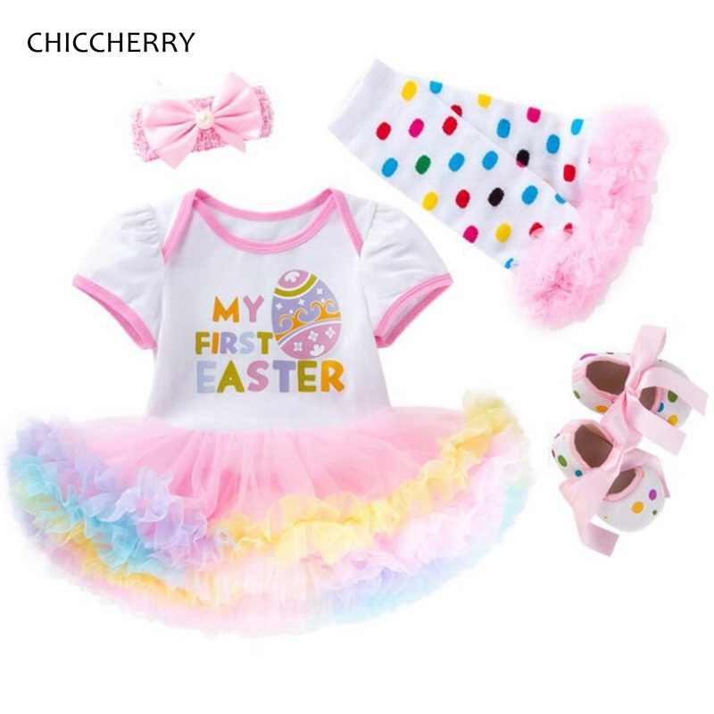 94d105d163643 My First Easter Outfits For Baby Girls Clothes Lace Romper Dress Headband  Leg Warmers Shoes Newborn