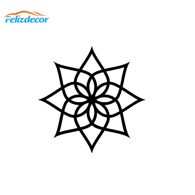 13*13cm Hot Selling Simple Lotus Mandala Decal Yoga Zen Boho Sticker Car  Decorative Car Decals White Black L736