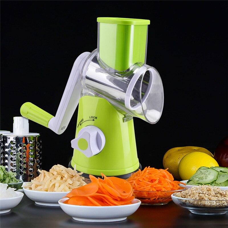 Vegetable Cutter Round Mandoline Potato Carrot Grater Slicer 3 Stainless Steel Multifunction Chopper Blades Kitchen Accessories