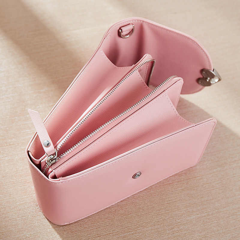 ใหม่ผู้หญิงหัวใจพีช Heart Crossbody ขนาดเล็กกระเป๋าโทรศัพท์มือถือมัลติฟังก์ชั่ยาวกระเป๋าสตางค์กระเป๋าขนาดเล็กเปลี่ยนบัตรเครดิต Cardbag