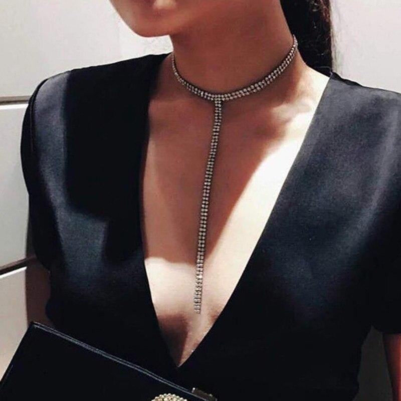 KMVEXO Long Tassel Simple Crystal Rhinestone Choker Necklace Women Gem Statement Luxury Collares Chokers chocker Collier Bijoux