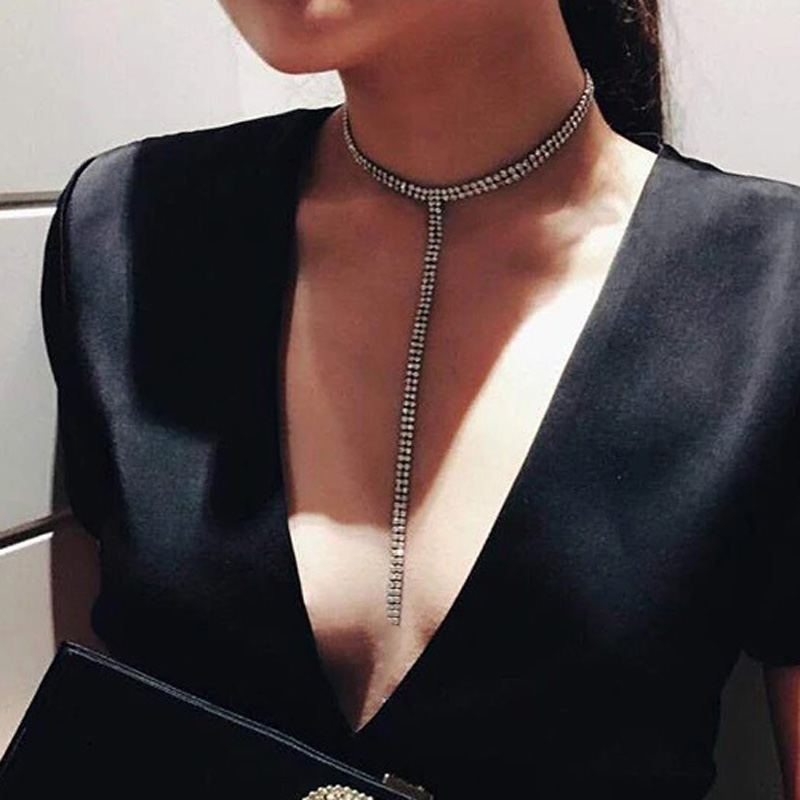Lange Quaste Einfache Kristall Strass Halsband Halskette Frauen Edelstein Erklärung Luxus Collares Colliers chocker Collier Bijoux