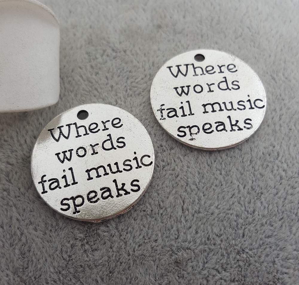 10pcs//lot When words fail music speaks disc charm Music charm pendant 20mm