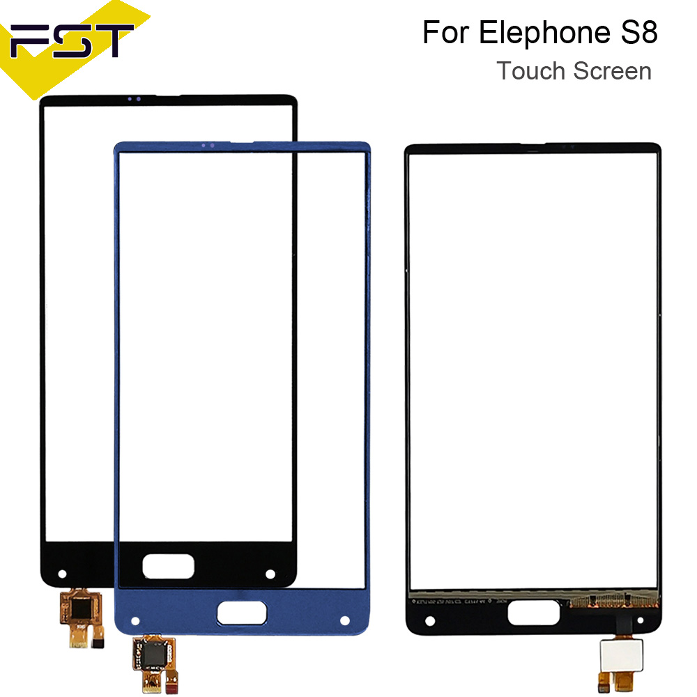6.0''Black/Blue For Elephone S8 Touch Digitizer Panel Front Glass Lens Sensor For Elephone S8 Mobile Phone Spare Parts+Tools