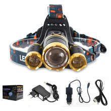 2017 New 5000LM Zoomable LED Headlamp 3 x CREE XML T6 Headlight 4 Modes 3T6 Camping Hunting Head Lamp + AC/Car Charger