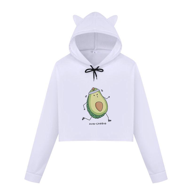 2018 Winter Avocado Printing Kpop Sweatshirts Women Kawaii Crop Top Hoodies Harajuku Long Sleeve Cropped Pullover Womens Clothes