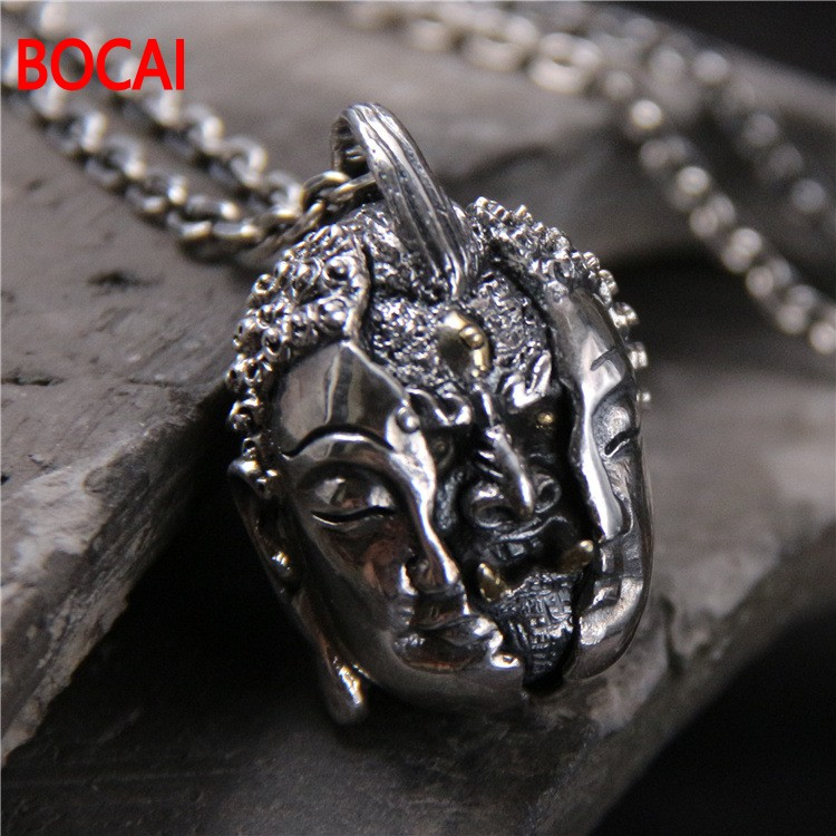 S925 pure silver restoring ancient ways Thai silver necklace Personality domineering evil by heart pendant with men s925 pure silver personality female models new beeswax