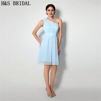 H S BRIDAL One Shoulder Sky Blue Short Prom Dresses Chiffon Cocktail Party Dresses Robe De