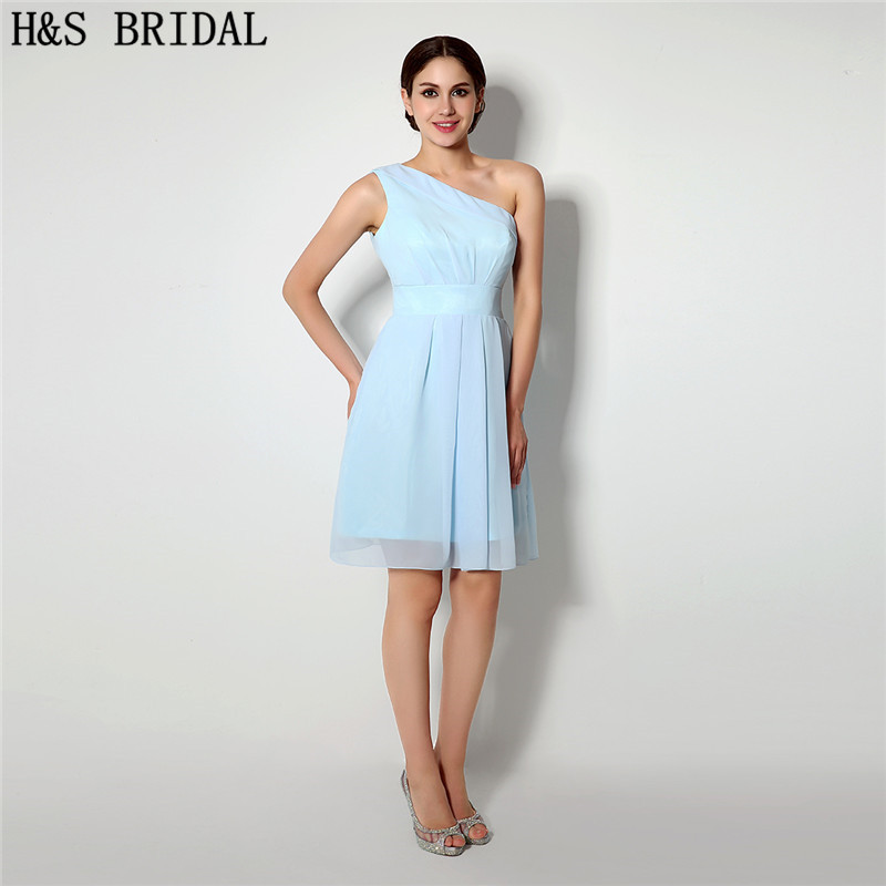 H&S BRIDAL One Shoulder Sky Blue short   prom     dresses   Chiffon Cocktail Party   Dresses   robe de mariage