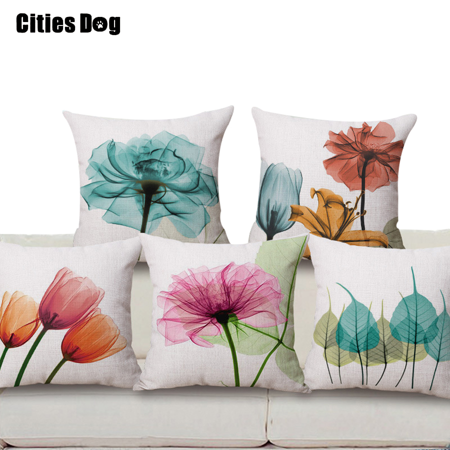 Bantal dekoratif bantal linen Baru modern minimalis tinta pola bunga tulip pencetakan 45x45 bantal bantal