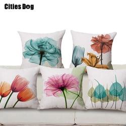 Dekorative kissen kissen leinen Die neue moderne minimalistischen tinte tulip blumen muster druck 45x45 werfen kissen Kissen