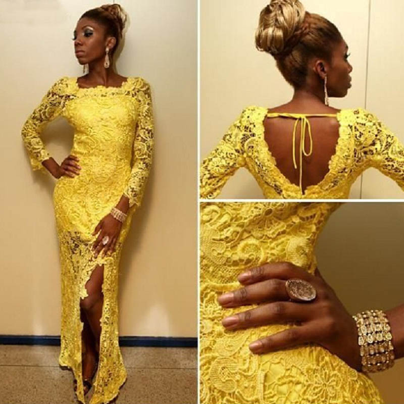 Scoop Neck Long Sleeve Yellow Prom Dresses African Long Sweep Train ...