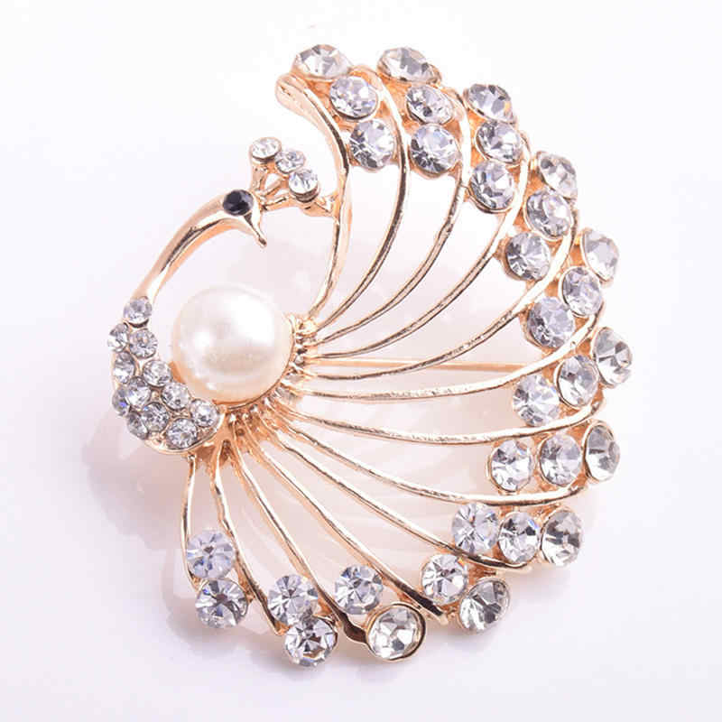 LNRRABC Women's Brooches Crystal Large Bridal Vintage Rhinestones Inlaid Peacock Brooch Pin Fashion Jewelry Decoration broches