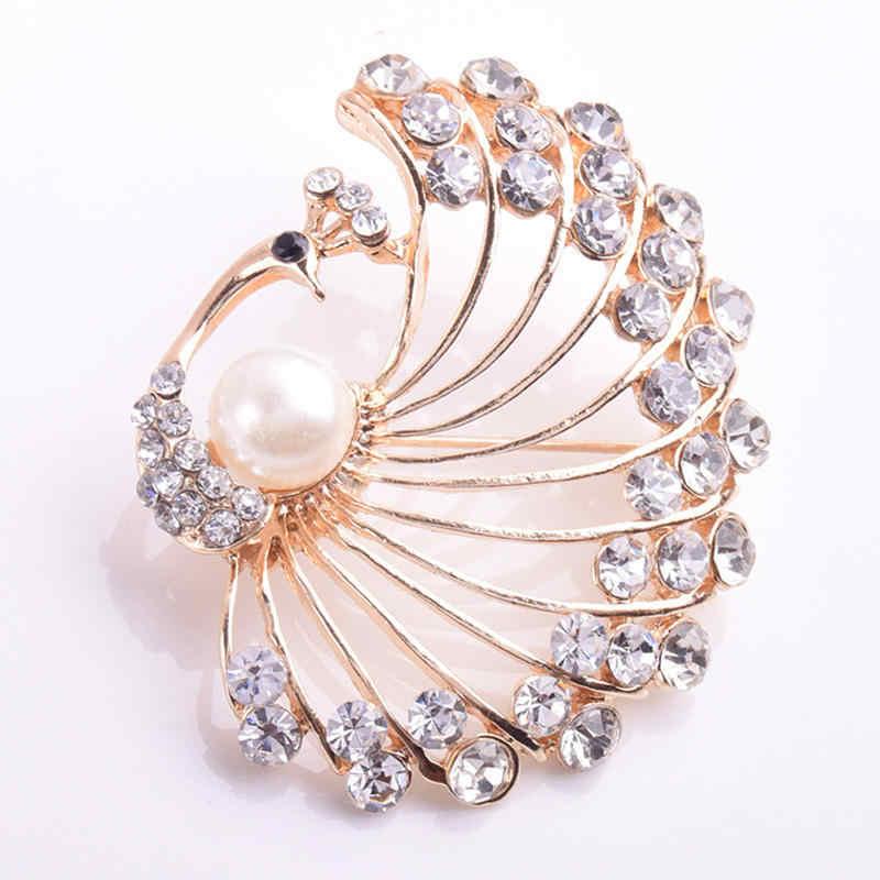 Lnrrabc Wanita Bros Crystal Besar Bridal Vintage Rhinestones Bertatahkan Peacock Bros Pin Fashion Perhiasan Dekorasi Bros