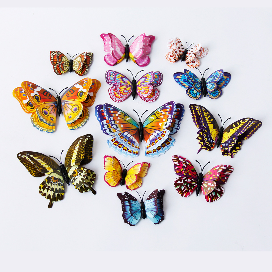 12pcs set Double layer Luminous Butterfly Design Decal Art Wall Stickers Room Magnetic Home Decor Stickers Stickertjes Wallpaper in Wall Stickers from Home Garden