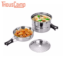 Outdoor Camping Pot Stainless Steel Pan Frying 2-3 People Cooker 3PCS/SET